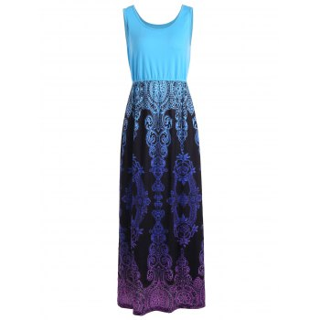 High Waist Baroque Print Sleeveless Maxi Dress