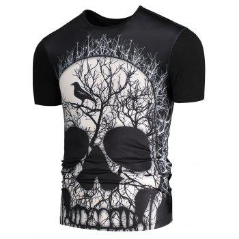 Short Sleeves 3D Skull Printed T-shirt