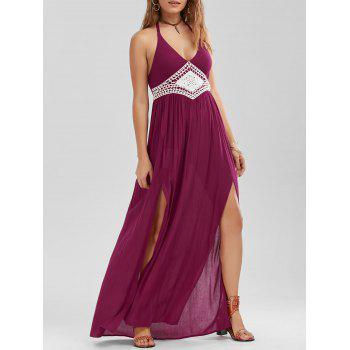 Crochet Trim Halter Neck Slit Dress
