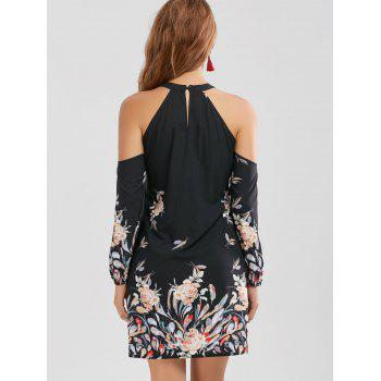Cold Shoulder Floral Border Print Shift Dress - BLACK M