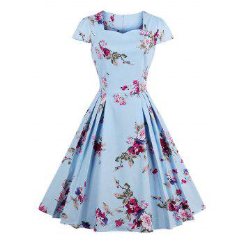Sweetheart Neck Floral Print Pleated Dress