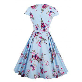 Sweetheart Neck Floral Print Pleated Dress - BLUE 2XL