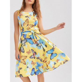 Sleeveless Butterfly Print Belted Dress
