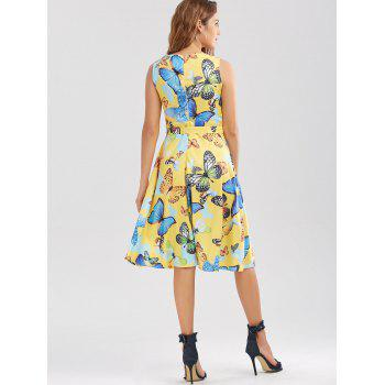 Sleeveless Butterfly Print Belted Dress - YELLOW 2XL