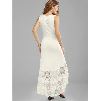 Scalloped Lace Panel Fitted Maxi Tank Dress - OFF WHITE 2XL
