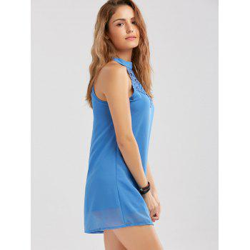 Crochet Lace Panel Cut Out Dress - WINDSOR BLUE WINDSOR BLUE