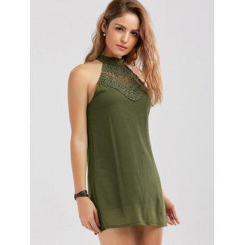 Crochet Lace Panel Cut Out Dress - ARMY GREEN ARMY GREEN