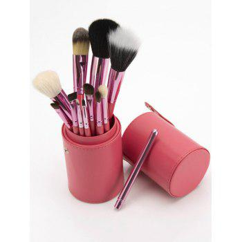 12Pcs Multifunction Portable Makeup Brushes and Bucket - PINK