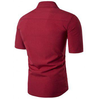 Stand Collar Short Sleeve Faux Twinset Panel Shirt - RED 2XL