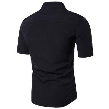 Stand Collar Short Sleeve Faux Twinset Panel Shirt - BLACK L