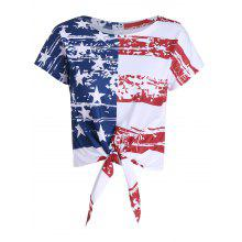 Distressed American Flag Tie Front Cropped Top
