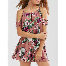 Dew Shoulder Tropical Leaf Print Romper