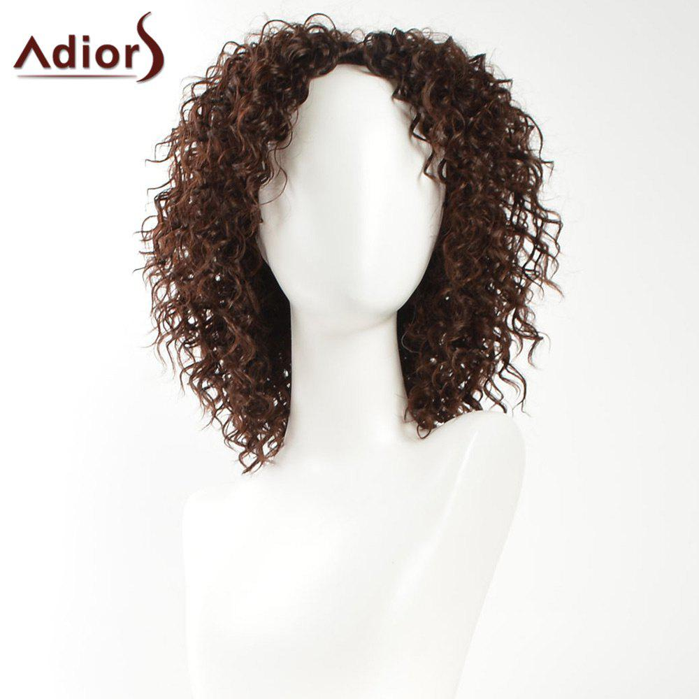 Adiors Side Bang Medium Shaggy Afro Curly Synthetic Wig adiors medium oblique bang shaggy afro curly colormix synthetic wig