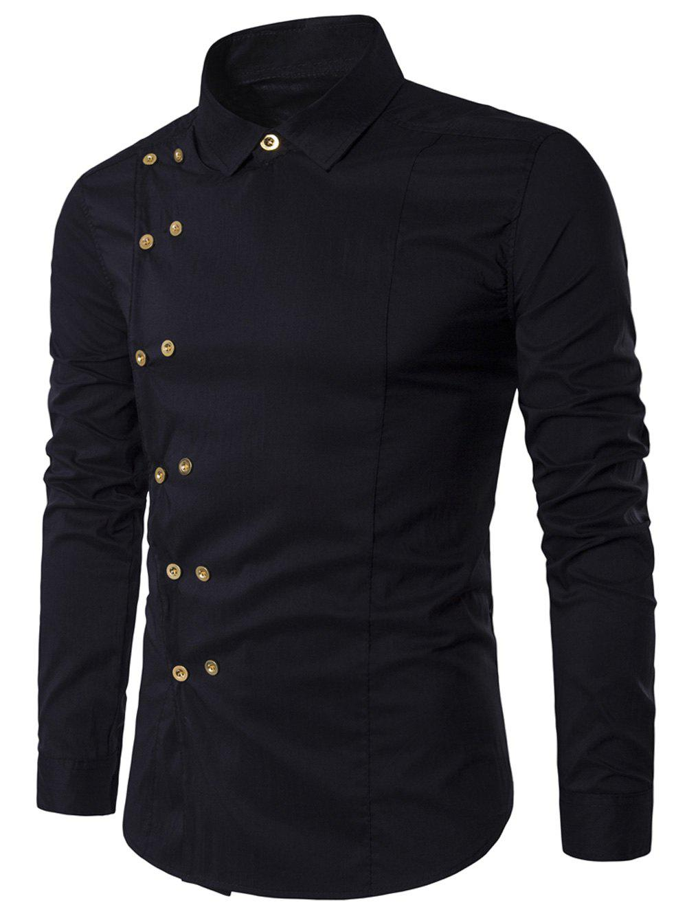 Black t shirt collar - Turndown Collar Long Sleeve Double Breasted Shirt Black L