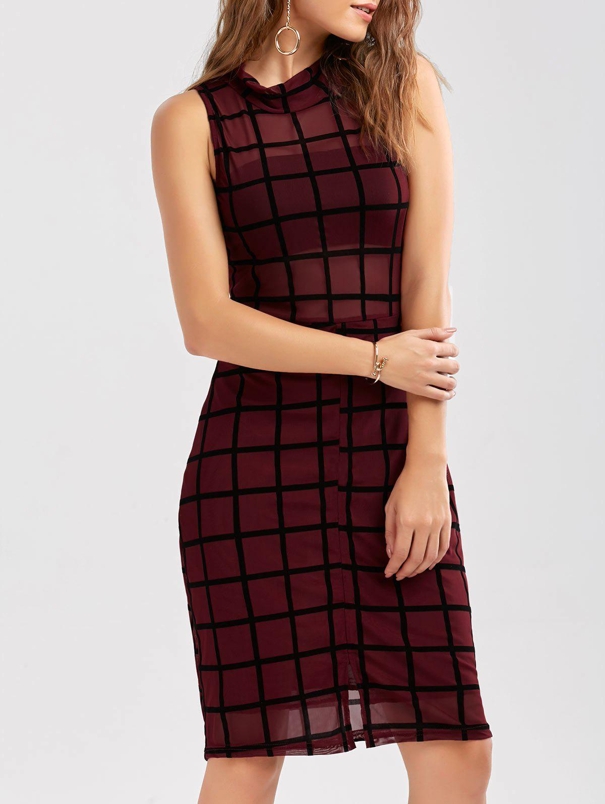 Mock Neck Grid Print Slit Bodycon Dress venera venera ve003bwizl26