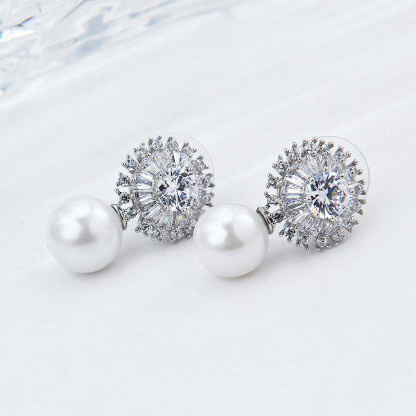 Rhinestoned Faux Pearl Round Earrings faux pearl rhinestoned oval drop earrings
