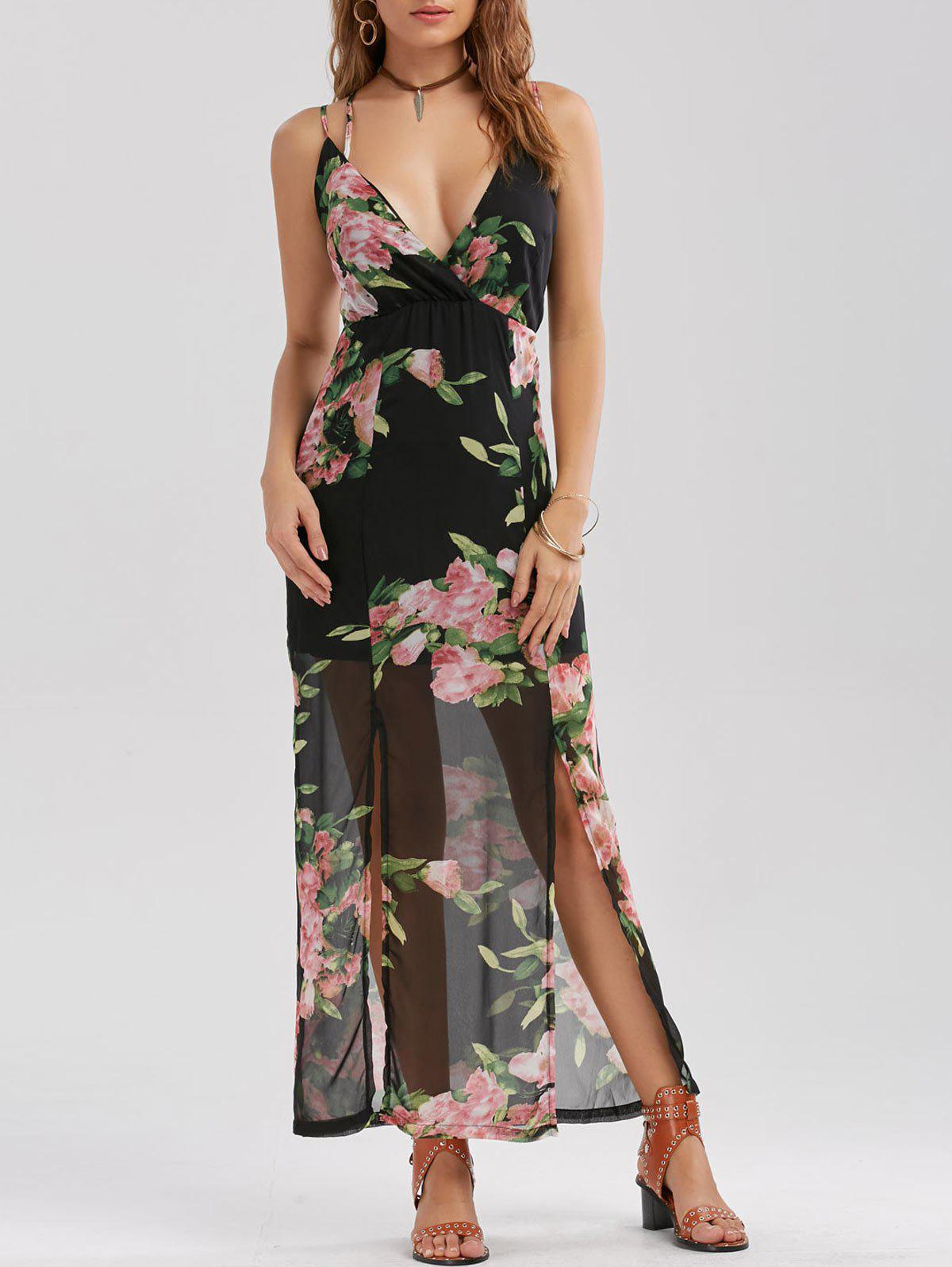 Floral Print High Slit Chiffon Maxi Dress - BLACK L