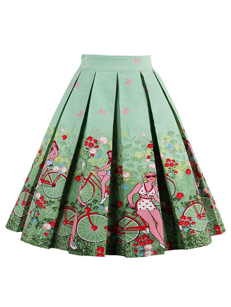 2017 printed high waisted pleated skirt green xl in skirts