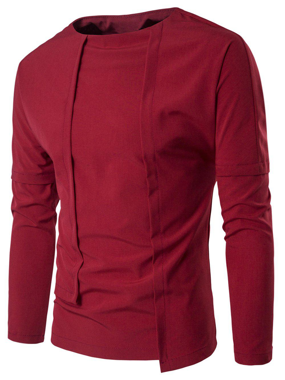 Design t shirt long sleeve - Long Sleeve Asymmetric Panel Design T Shirt Red M