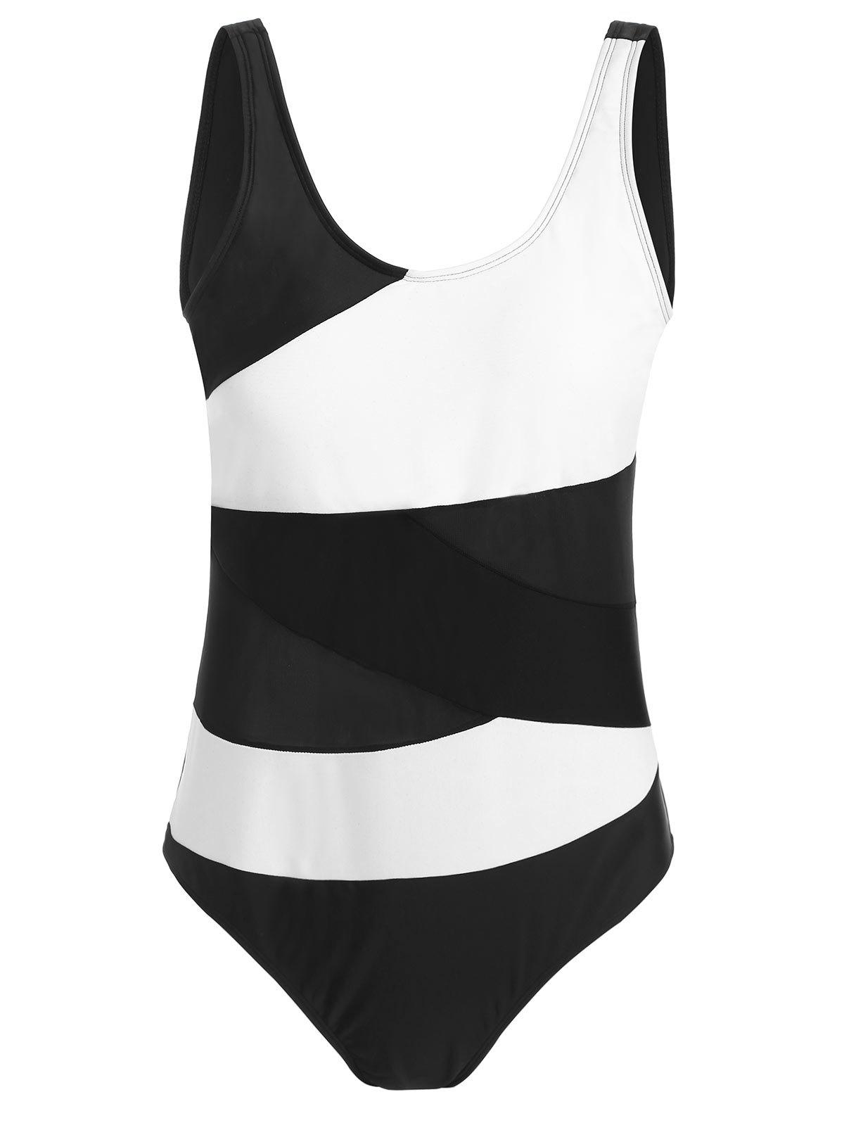 Color Block Padded Plus Size One Piece Swimsuit - WHITE 2XL