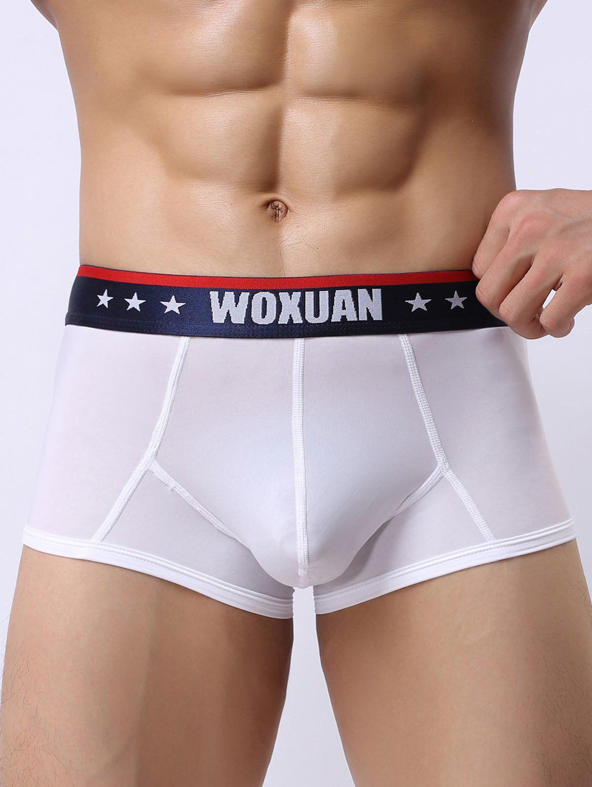 Star Printed U Convex Pouch Trunks - WHITE S