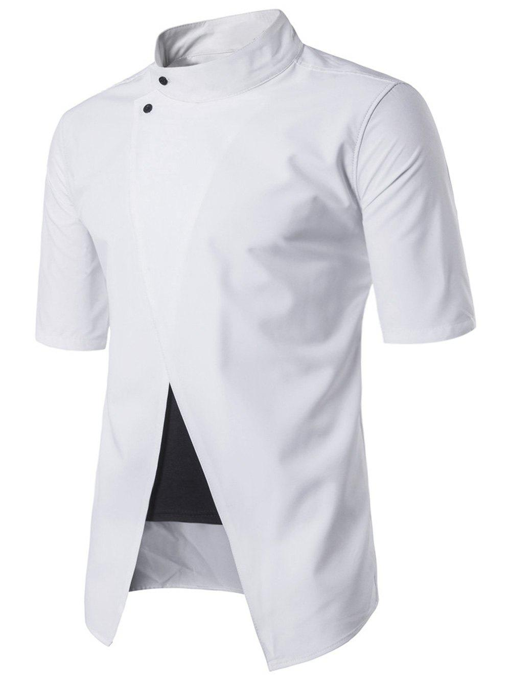 Stand Collar Short Sleeve Faux Twinset Panel Shirt - WHITE 2XL