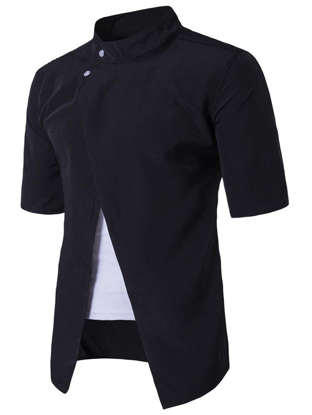 Stand Collar Short Sleeve Faux Twinset Panel Shirt - BLACK XL