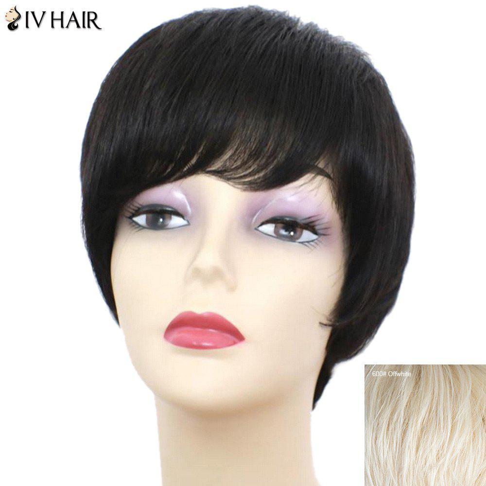 Siv Hair Short Straight Side Bang Perruque de cheveux humains - Blanc Cassé