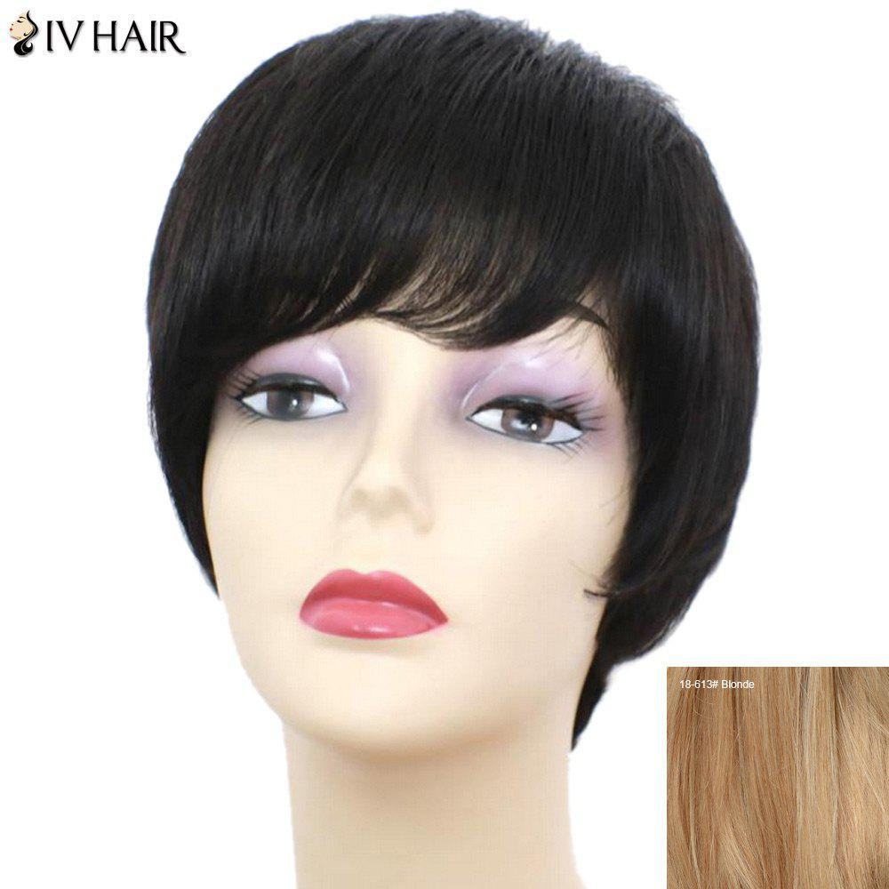 Siv Hair Short Straight Side Bang Perruque de cheveux humains - / Blonde