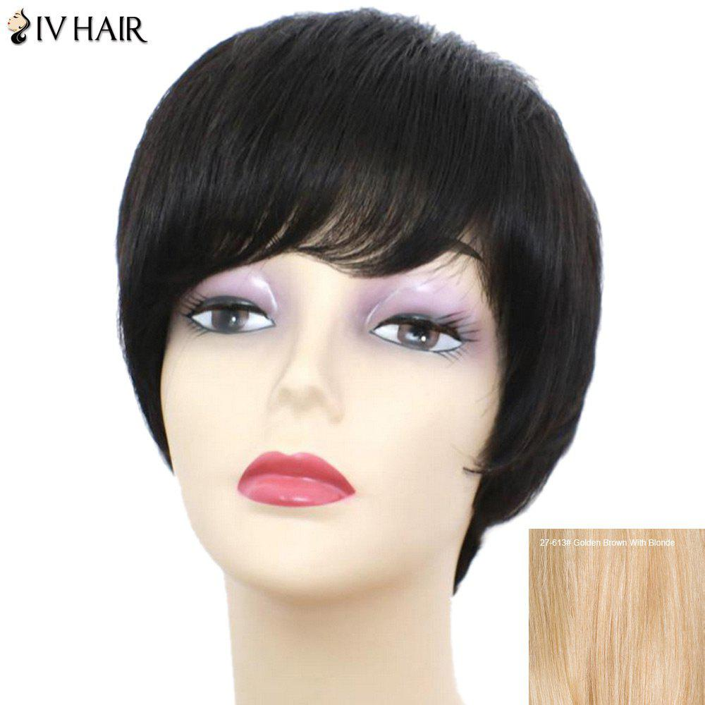 Siv Hair Short Straight Side Bang Perruque de cheveux humains - / Brown d'Or avec Blonde