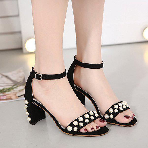 T Strap Faux Pearl Flat Heel Sandals - Black 38 discount low shipping cheap pay with paypal really cheap price cheap prices authentic visit online VSvYgwnl