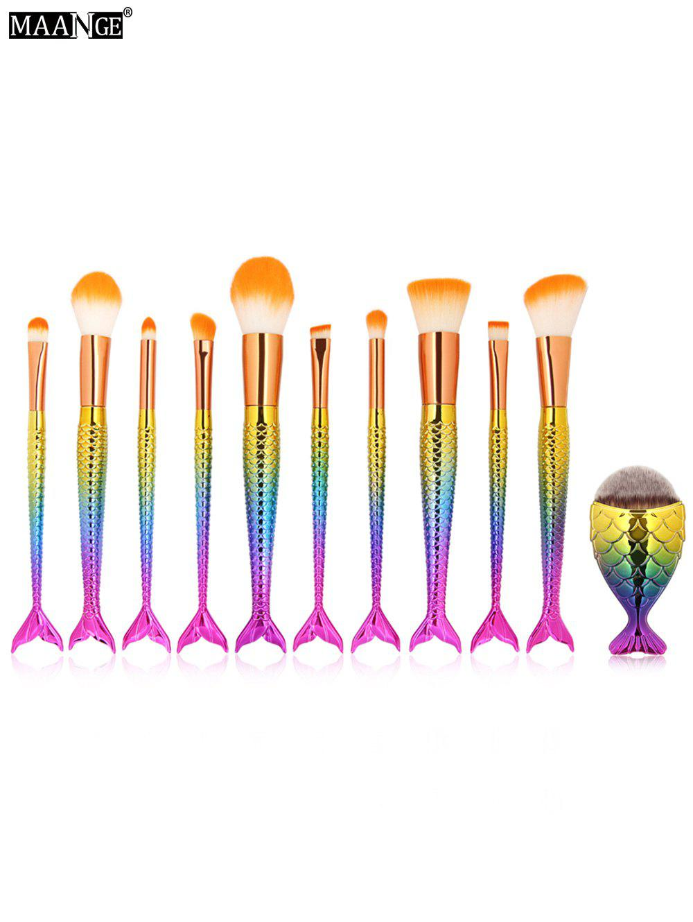 MAANGE 11Pcs Mermaid Makeup Brushes and Foundation Brush gujhui 15pcs wooden foundation makeup brushes sets