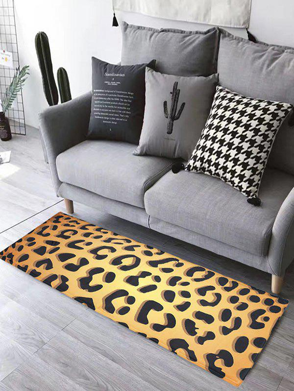 Leopard Print Water Absorption Skidproof Flannel Bathroom Rug skidproof flannel bathroom rug with nightfall surfing print
