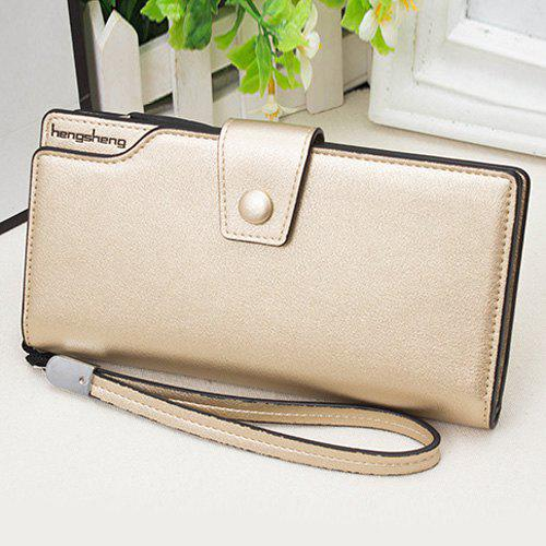 PU Leather Organizer Wristlet Wallet - GOLDEN