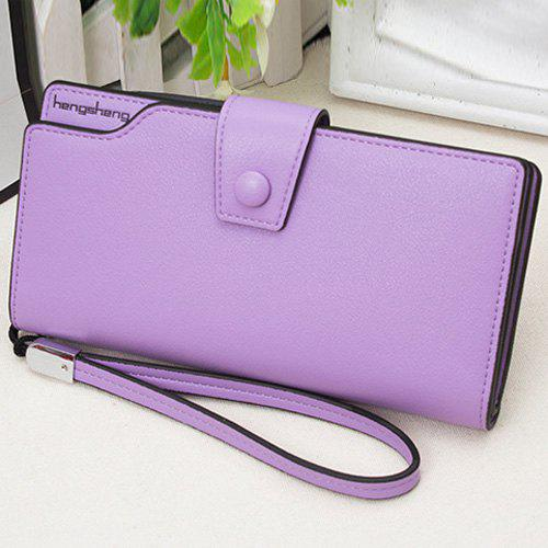 PU Leather Organizer Wristlet Wallet - PURPLE