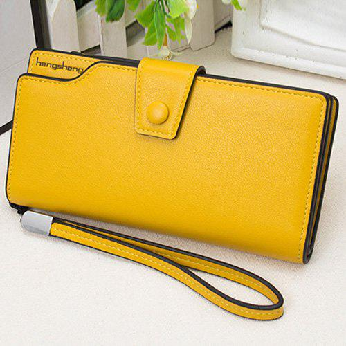 PU Leather Organizer Wristlet Wallet - YELLOW