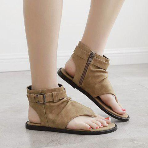 Zipper Belt Buckle Flat Heel Sandals - BROWN 37
