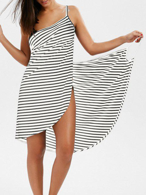 Striped Open Back Multiway Wrap Cover-ups Dress - WHITE M