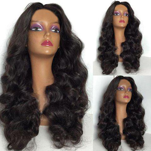 Middle Parting Long Shaggy Body Wave Synthetic Wig - NATURAL BLACK