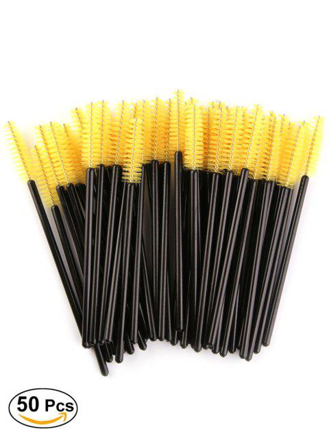 50 Pcs/Pack One-Off Eye Brow Groomer Brushes - YELLOW