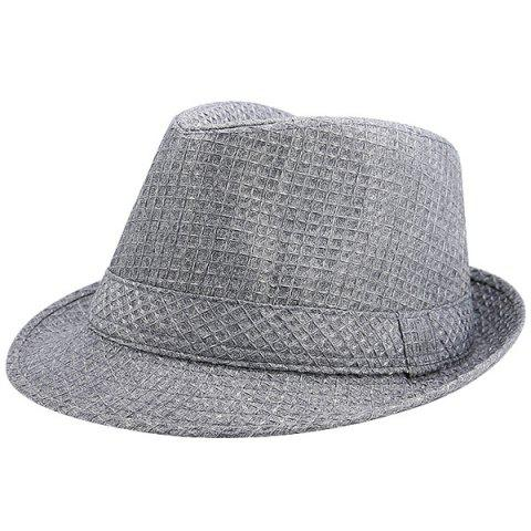 97c5757f31d71 LIMITED OFFER  2019 Tiny Plaid Ribbon Embellished Retro Fedora Hat ...