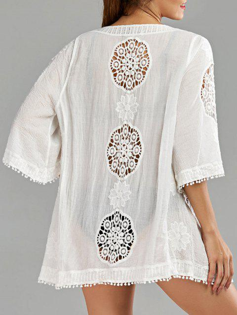 d60db02f279f87 17% OFF] 2019 Openwork Beach Kimono Cover Up In WHITE | DressLily