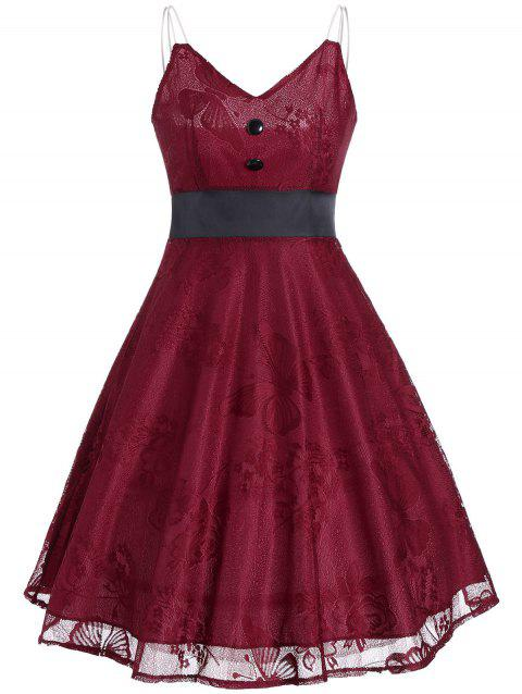 7935cf531efd5 41% OFF] 2019 Vintage Lace Panel Buttons Slip Dress In WINE RED ...