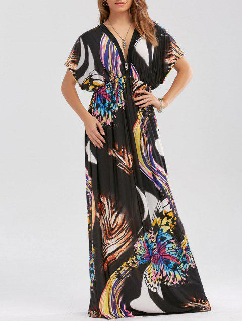 Empire Waist Butterfly Print Maxi Dress - BLACK L
