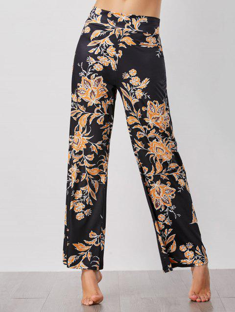 Floral Print High Waist Wide Leg Pants - BLACK M