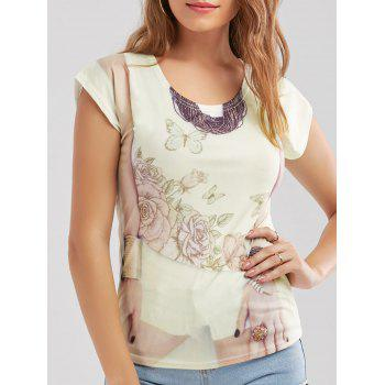 3D Print Floral Casual Tee