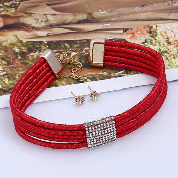 Rhinestoned Choker Necklace and Earring Set - RED