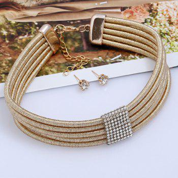 Rhinestoned Choker Necklace and Earring Set - GOLDEN