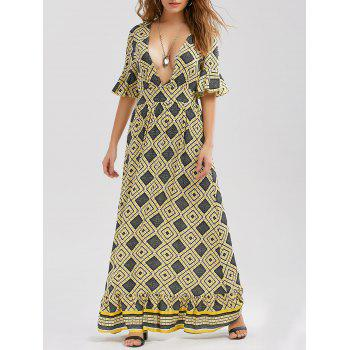Printed Plunging Neck Floor Length Dress