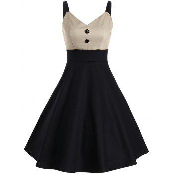 Vintage Buttons Embellished Two Tone Slip Dress